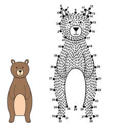 connect the dots and draw a cute bear vector image