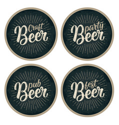 Craft beer lettering with rays advertising design vector