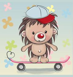 Cute hedgehog with skateboard vector