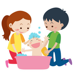 Dad and mom giving bath to baby vector