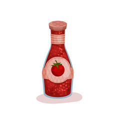 Delicious tomato sauce in glass bottle with label vector