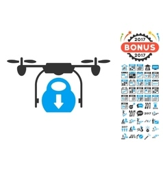 Drone Drop Cargo Icon With 2017 Year Bonus vector image