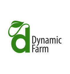 dynamic farm initial letter d with leaf logo vector image