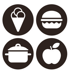 eating icons set isolated on white background vector image