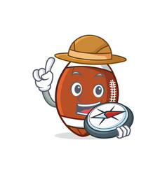Explorer american football character cartoon vector