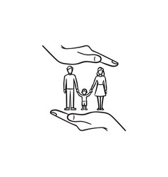 family insurance hand drawn sketch icon vector image