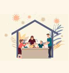 Family stay at home doing daily activity together vector