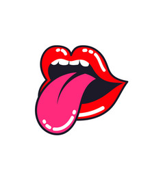 female lips woman mouth with a tongue teeth vector image