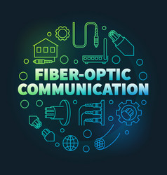 fiber-optic communication colorful linear vector image