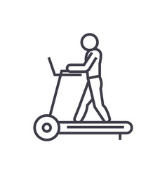 Fitness treadmill concept thin line icon vector