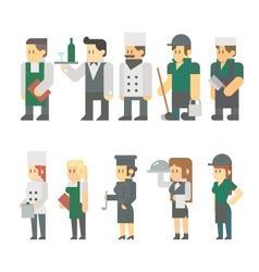Flat design of restaurant worker set vector image vector image