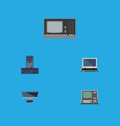 Flat icon laptop set of processor vintage vector