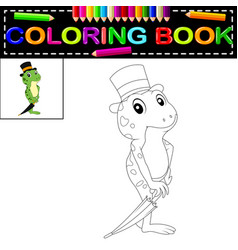 frog coloring book vector image
