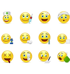 Funny smileys set to medical thematics vector