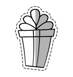 Gift box ribbon valentine party celebration linea vector