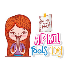 Girl to fools day celebration with kick me message vector