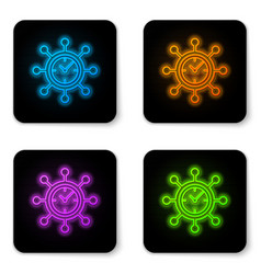 glowing neon clock and gear icon isolated on vector image