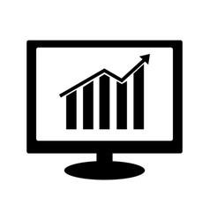 growth bar chart icon on computer monitor vector image
