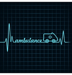 heartbeat make ambulance text and symbol vector image