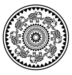 Indian mandala with elephants and abstract shapes vector