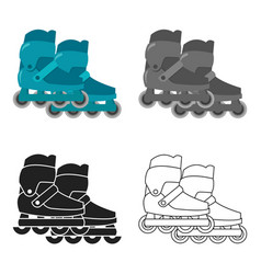 inline skates and scooter icon in cartoon style vector image