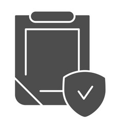 Insurance policy solid icon clipboard with shield vector
