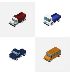 isometric automobile set of lorry freight suv vector image