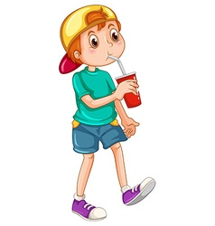 Little boy drinking from a cup vector image