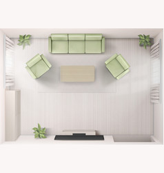 Living room interior top view sofa tv armchairs vector