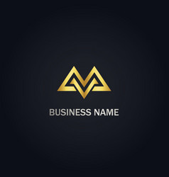 m initial triangle gold logo vector image