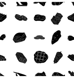Meats pattern icons in black style Big collection vector image