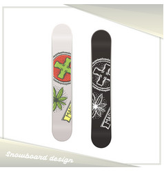Medical marijuana snowboard three vector