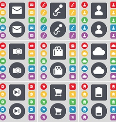 Message Microphone Avatar Camera Shopping bag vector image