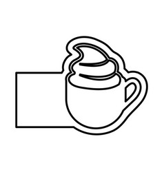 monochrome contour with coffee cup with cream and vector image