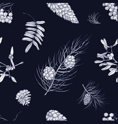 Monochrome seamless pattern with parts winter vector