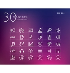 Music outline icons set vector image