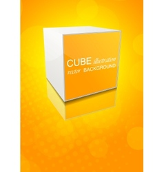 Orange background with cube vector