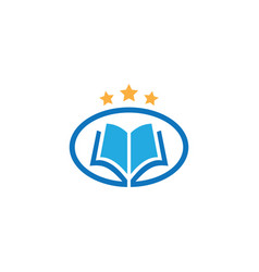 Oval book star education logo vector