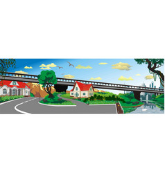 panoramic landscape - the bridge to the city vector image