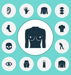 part icons set with chest spine skull and other vector image