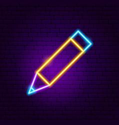 pencil neon sign vector image