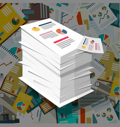 pile of paper with graphs on paperwork background vector image