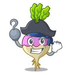 Pirate cartoon rutabaga root on the garden vector