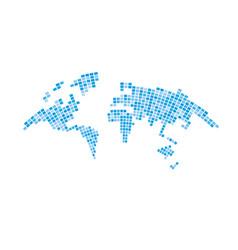 Pixelized map world bulging on white background vector