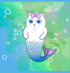 Pretty cat mermaid with pink bow vector