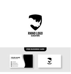 Rhino shield logo design free business card vector