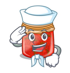 Sailor character homemade strawberry marmalade in vector