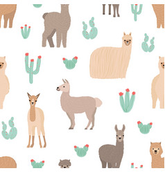 Seamless pattern with adorable llamas hand drawn vector