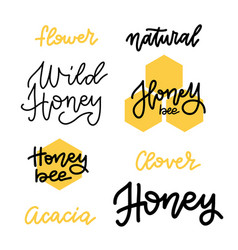 set honey lettering badges and calligraphy vector image
