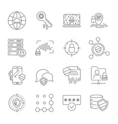 Set icons of cyber protection and internet vector